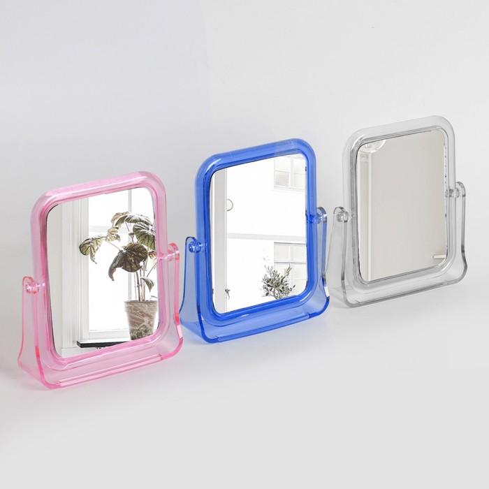 Зеркало настольное, двустороннее, с увеличением, зеркальная поверхность 9,5 × 12 см, МИКС