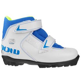 Ботинки лыжные TREK Snowrock NNN ИК, цвет белый, лого синий, размер 29