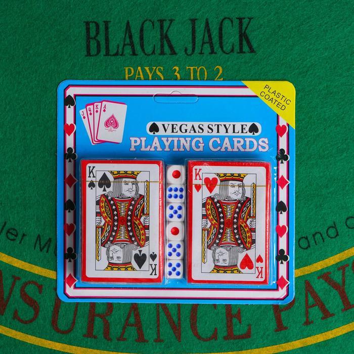 Покер, набор для игры карты 2 колоды, кубики игральные 6 шт микс