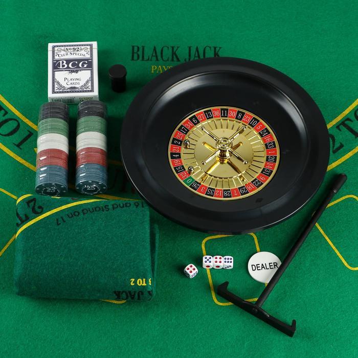 Игровой набор рулетка карты 54 шт, фишки с номин. 100 шт, кубики 4 шт, поле 33х29 см