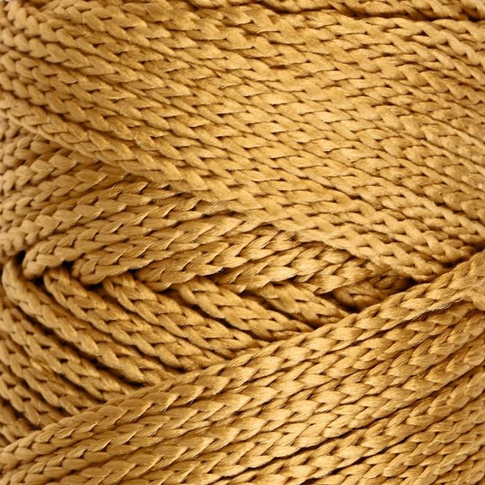 Шнур для вязания без сердечника 100% полиэфир, ширина 3мм 100м/210гр, (43 горчичный)