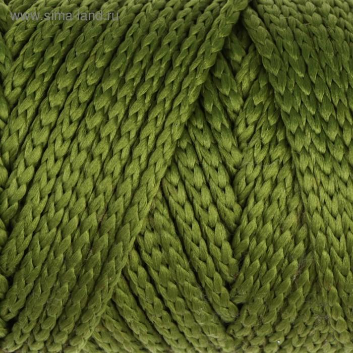 Шнур для вязания без сердечника 100% полиэфир, ширина 3мм 100м/210гр, (51 оливковый)
