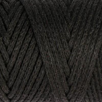 Шнур для вязания без сердечника 100% хлопок, ширина 3мм 100м/200гр (2105 черный)