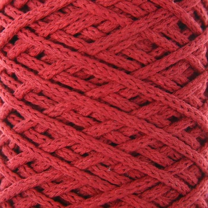 Шнур для вязания без сердечника 100% хлопок, ширина 3мм 100м/200гр (2172 бордовый) МИКС