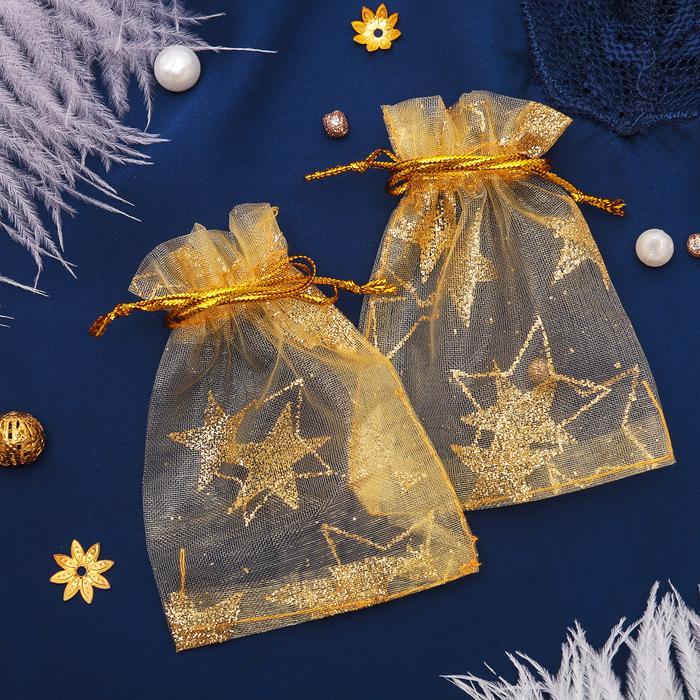 Мешочек подарочный Звезды крупные, 79, цвет золотой