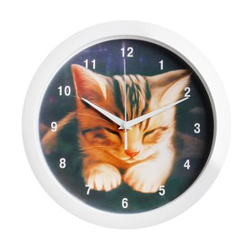 Часы настенные 'Котёнок', белый обод, 28х28 см, микс Ош