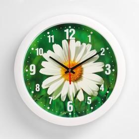 Часы настенные 'Ромашка', белый обод, 28х28 см, микс Ош