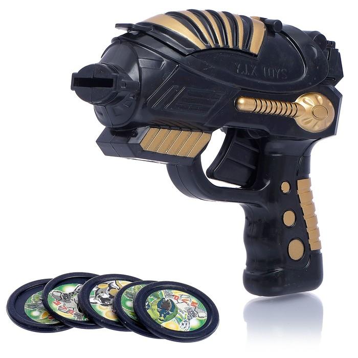 Пистолет Стрелок, стреляет дисками, цвета МИКС