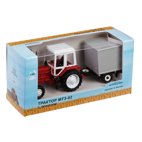 Трактор МТЗ-82 с прицепом будка 1:43, МИКС