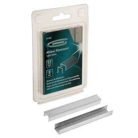 Скобы для мебельного степлера GROSS, 8 мм, тип 53, усиленные, 1000 шт.