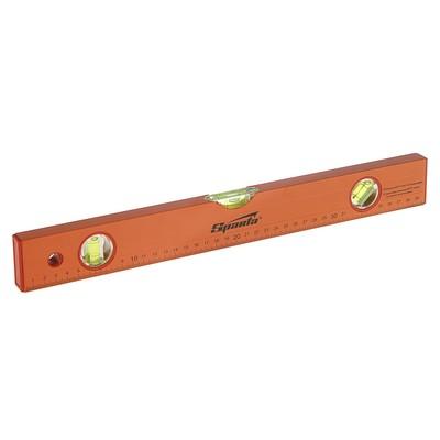 Уровень SPARTA, 40 см, алюминиевый, 3 глазка, оранжевый, линейка - Фото 1
