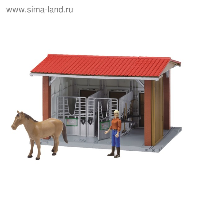 Конюшня с всадницей и лошадью, размер 48 х 36 х 31 см
