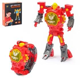 Робот «Часы», трансформируется в часы, работает от батареек, цвет красный