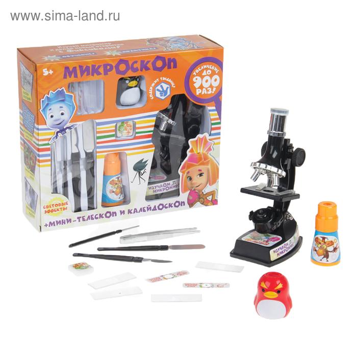 Микроскоп+мини-телескоп и калейдоскоп ФИКСИКИ с набором для исследований