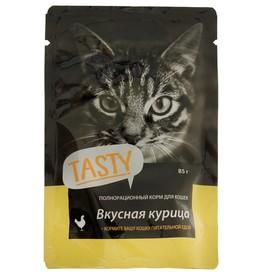 Влажный корм Tasty для кошек, курица в желе, пауч, 85 г