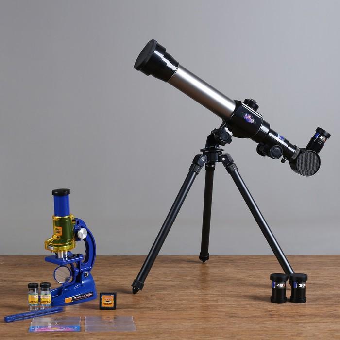 Набор обучающий Юный натуралист Ultra телескоп настольный 20х 30х 40х, съемные линзы, микроскоп 100х 200х 450х, инструменты для исследований