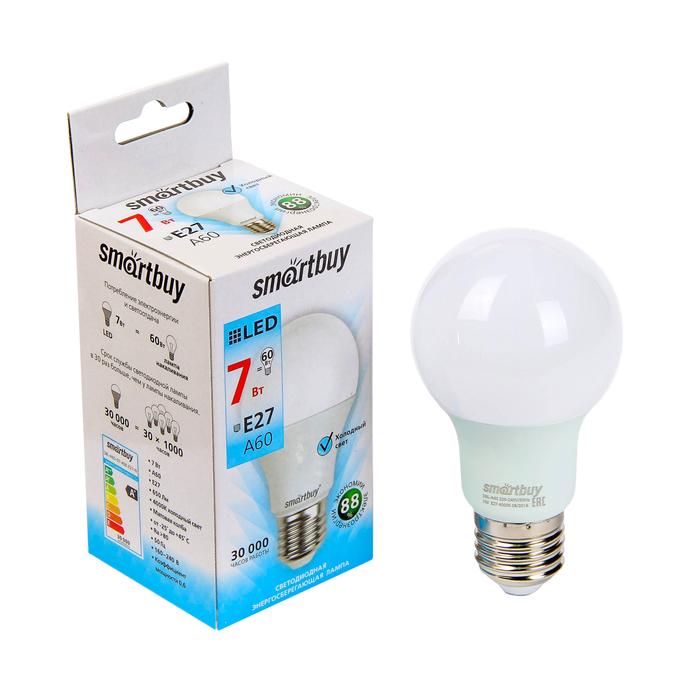 Лампа cветодиодная Smartbuy, A60, E27, 7 Вт, 4000 К, дневной белый свет