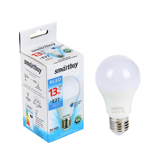 Лампа cветодиодная Smartbuy, A60, E27, 13 Вт, 6000 К, холодный белый свет
