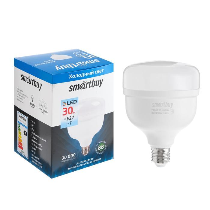 Лампа cветодиодная Smartbuy, НР, E27, 30 Вт, 6500 К, холодный белый свет
