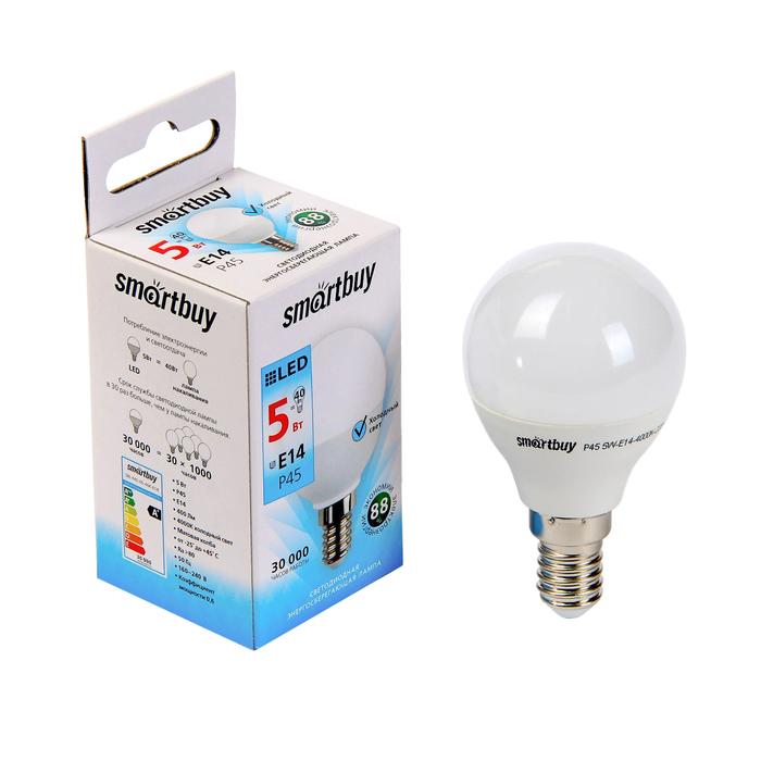 Лампа cветодиодная Smartbuy, P45, E14, 5 Вт, 4000 К, холодный свет