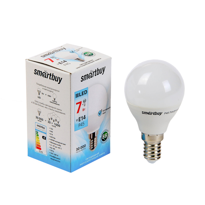 Лампа cветодиодная Smartbuy, P45, E14, 7 Вт, 4000 К, дневной белый свет
