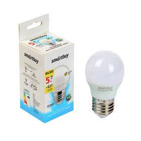 Лампа cветодиодная Smartbuy, G45, Е27, 5 Вт, 3000 К, теплый белый свет