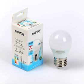 Лампа cветодиодная Smartbuy, G45, Е27, 7 Вт, 4000 К, дневной белый свет