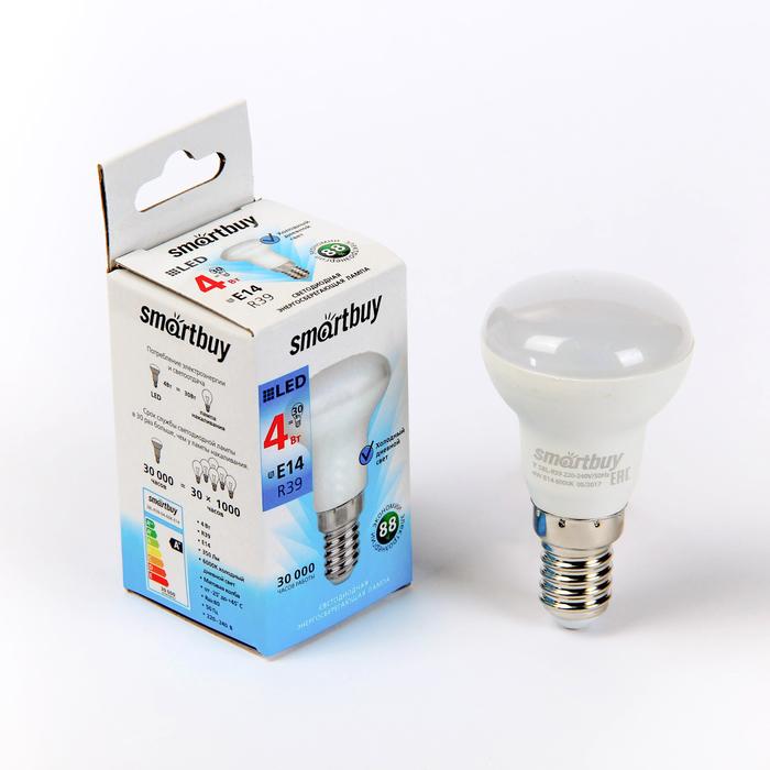 Лампа cветодиодная Smartbuy, R39, E14, 4 Вт, 6000 К, холодный белый свет