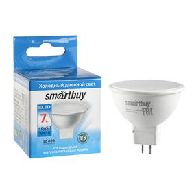 Лампа cветодиодная Smartbuy, MR16, GU5.3, 7 Вт, 6000 К, холодный белый свет
