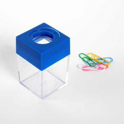 Скрепочница квадратная с магнитом прозрачная пластик МИКС