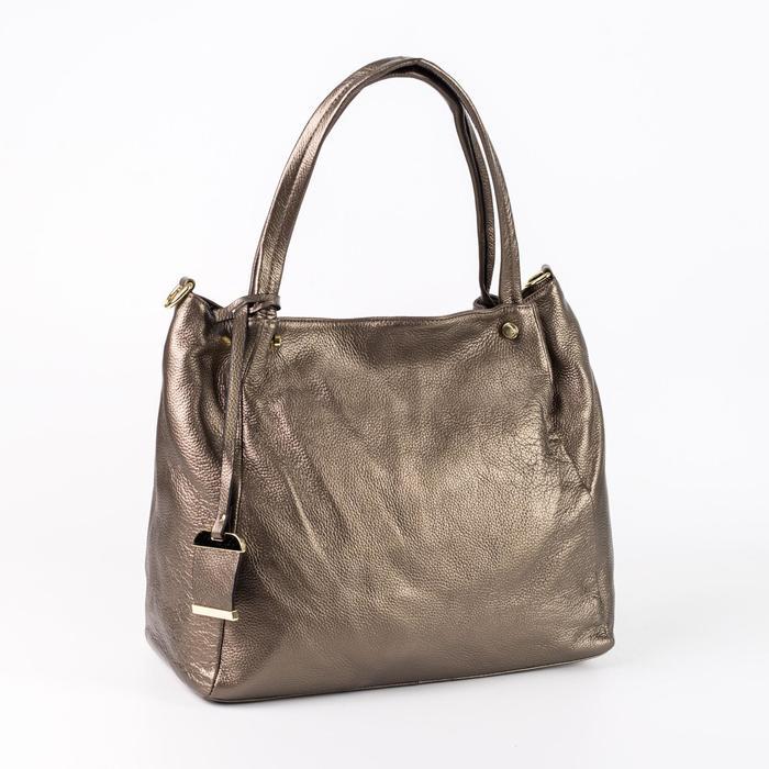 Сумка женская, отдел с перегородкой, наружный карман, длинный ремень, цвет бронзовый