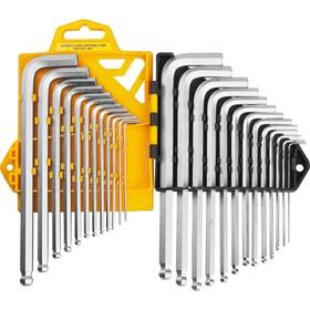 Набор ключей имбусовых JCB JWR005, длинные с шариком, Cr-V сталь, 25 предметов