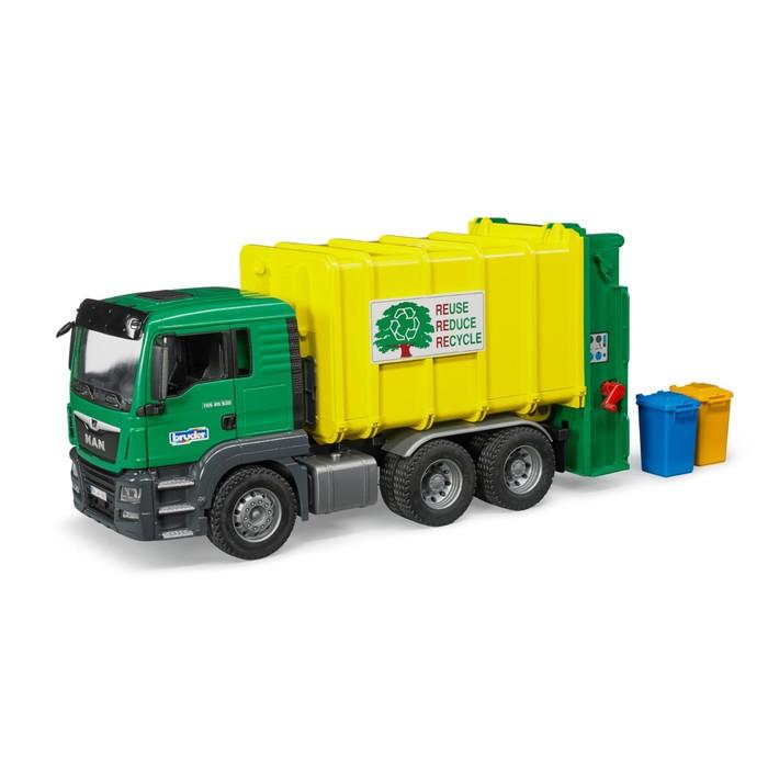 Мусоровоз MAN TGS зелено-желтый, подходит модуль со звуком и светом «Н»