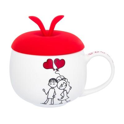 Кружка «Романтическая прогулка», с красной силиконовой крышкой, объём 330 мл - Фото 1