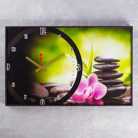 Часы настенные, серия: Цветы 'Розовый цветок на камнях',  микс 37х60 см Ош