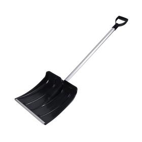 Лопата пластиковая, ковш 380 × 380 мм, морозостойкая, с алюминиевой планкой, алюминиевый черенок, «Снежинка» Ош