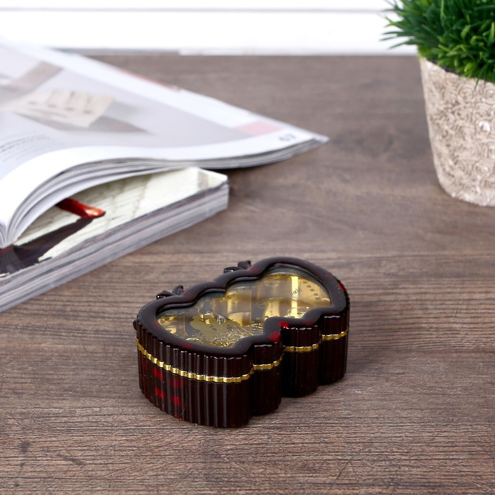 Шкатулка музыкальная 2 яблока 3х7,2х5 см