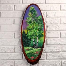 Картина 'Лето' на срезе дерева, каменная крошка, микс Ош