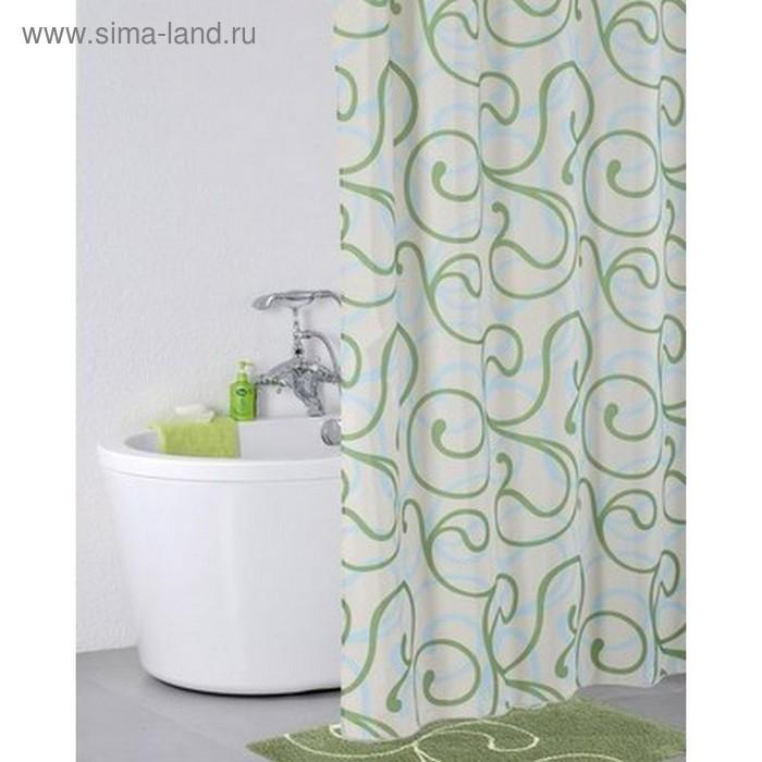Штора для ванной комнаты 200х200 см, Flower Lace, green