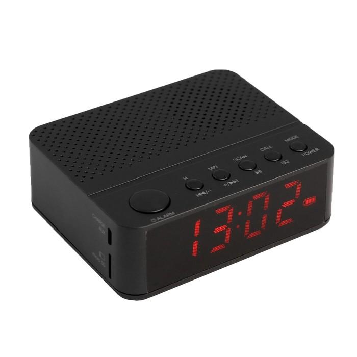 """Часы радиобудильник """"СR-169 Сигнал"""", FM, два будильника, Bluetooth, черные"""