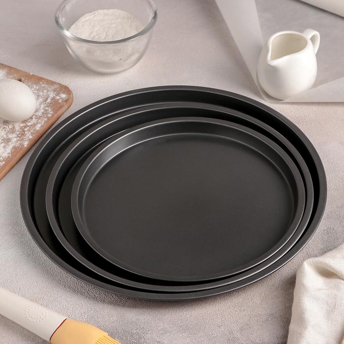 Набор форм для выпечки пиццы Доляна «Жаклин.Пицца», 3 шт: 31/27/2×1,5 см, антипригарное покрытие