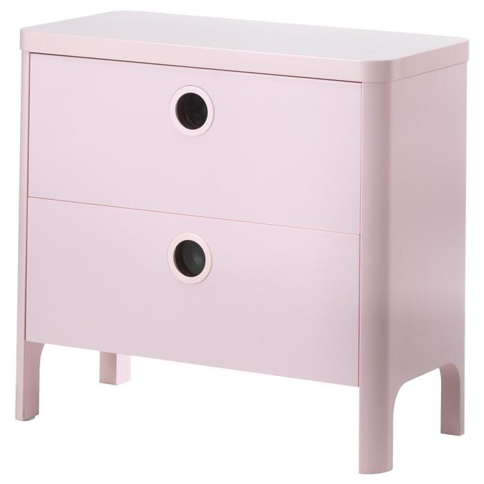 Комод 2 ящика БУСУНГЕ, светло-розовый, 40х80x75 см