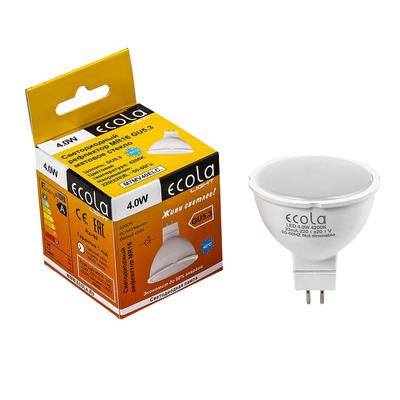 Лампа светодиодная Ecola Light, MR16, 4 Вт, GU5.3, 4200 K, 46x50 мм, матовое стекло