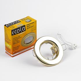Светильник встраиваемый Ecola Light, DL90, MR16, GU5.3, плоский, золотой, 30x80 мм Ош