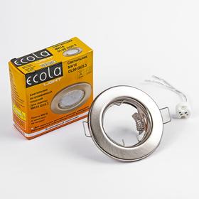 Светильник встраиваемый Ecola Light, DL90, MR16, GU5.3, плоский, сатин-хром, 30 х 80 мм Ош