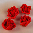 Набор цветков-бантов из фоамирана,  D=5 см, 4 шт, красный