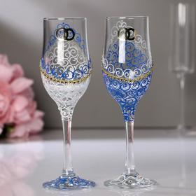 """Набор свадебных бокалов """"Кольца"""", бело-голубой"""