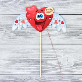 Сердце-дергунчик на палочке «Очень люблю» Ош