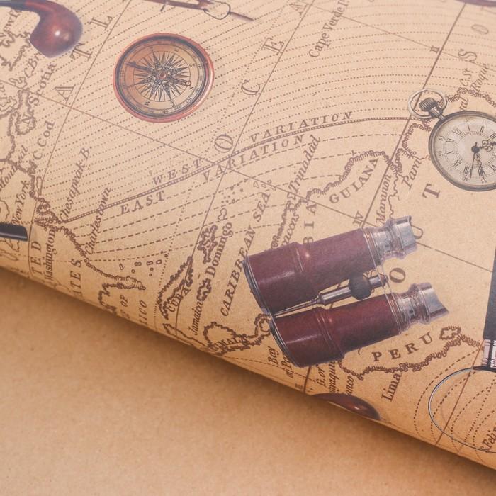 Бумага упаковочная крафтовая Карта странствий, 50  70 см