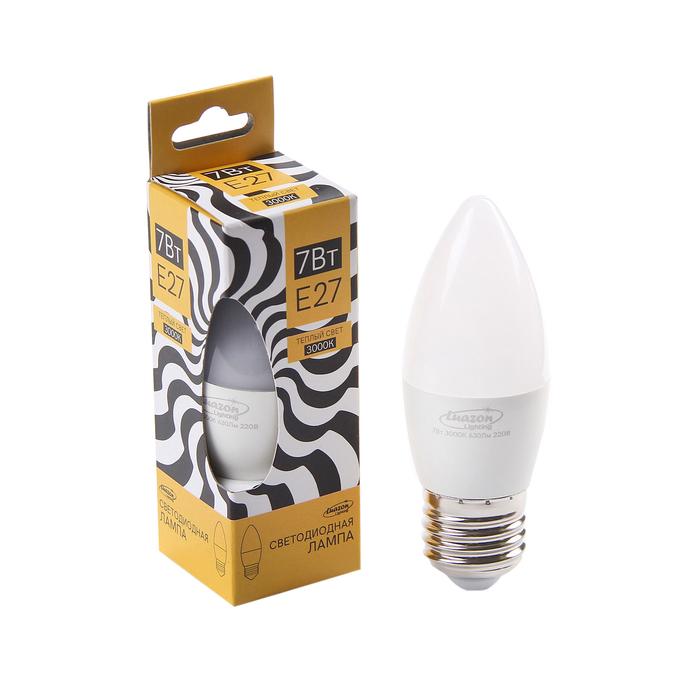 Лампа cветодиодная Luazon Lighting, C37, 7 Вт, E27, 630 Лм, 3000 K, теплый белый